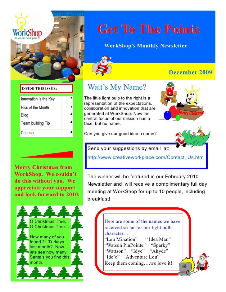 Get To The Pointe                                                WorkShop's Monthly Newsletter                            ...