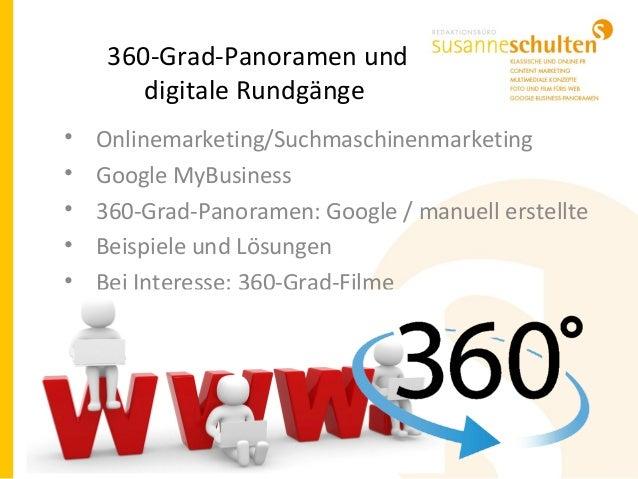 360-Grad-Panoramen und digitale Rundgänge • Onlinemarketing/Suchmaschinenmarketing • Google MyBusiness • 360-Grad-Panorame...