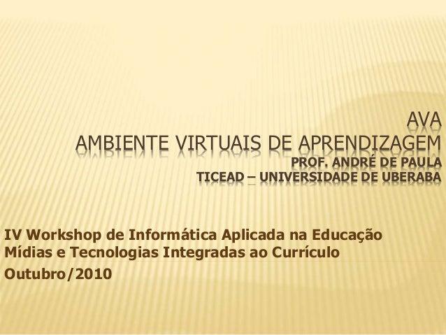 AVA AMBIENTE VIRTUAIS DE APRENDIZAGEM PROF. ANDRÉ DE PAULA TICEAD – UNIVERSIDADE DE UBERABA IV Workshop de Informática Apl...
