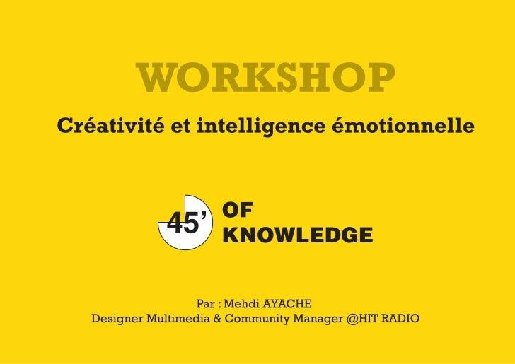 """Workshop """"Créativité et intelligence émotionnelle"""" par Mehdi Ayache à l'EST de Salé le 23 Avril 2011"""