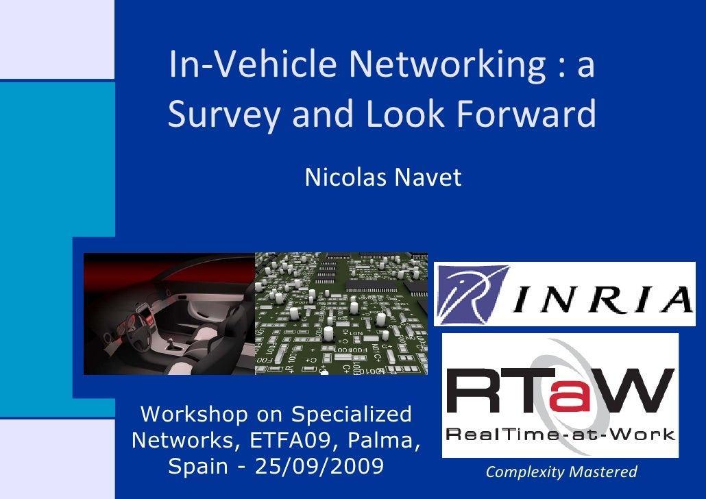 In‐Vehicle Networking : a     Survey and Look Forward               Nicolas Navet      Workshop on Specialized Networks, E...