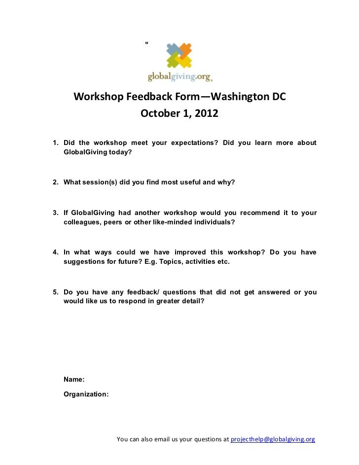 Workshop Feedback Form Training Course Feedback Form Workshop