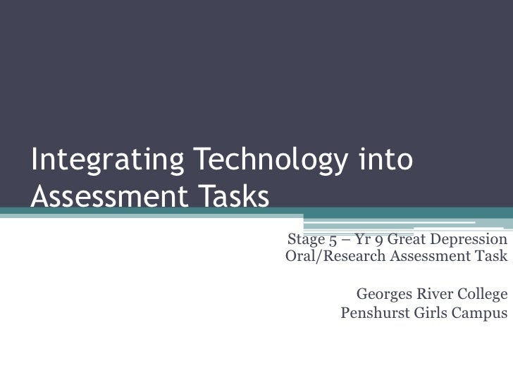 Integrating Technology into Assessment Tasks<br />Stage 5 – Yr 9 Great Depression Oral/Research Assessment Task<br />Georg...