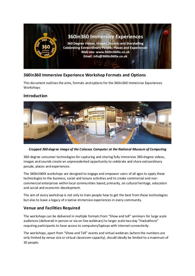 360in360 Immersive Experience Workshop Formats and Options This document outlines the aims, formats and options for the 36...