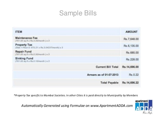maintenance bill format