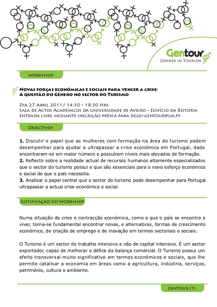Gentour                                                              Gender in Tourism   WorkshopNovas forças económicas e...