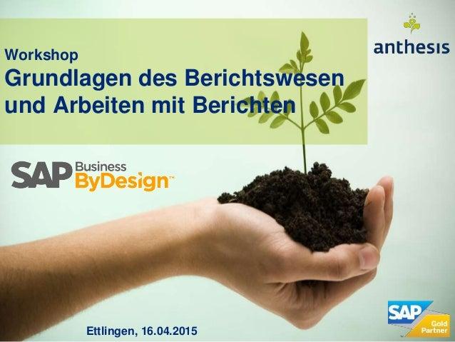 Workshop Grundlagen des Berichtswesen und Arbeiten mit Berichten Ettlingen, 16.04.2015