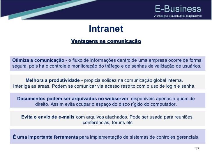 Intranet Otimiza a comunicação  - o fluxo de informações dentro de uma empresa ocorre de forma segura, pois há o controle ...
