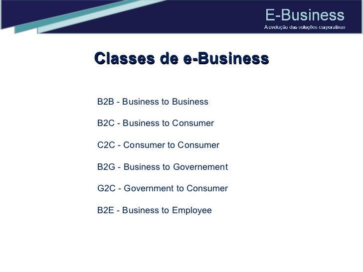 Classes de e-Business B2B - Business to Business B2C - Business to Consumer C2C - Consumer to Consumer B2G - Business to G...