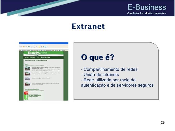 Extranet O que é? - Compartilhamento de redes - União de intranets - Rede utilizada por meio de autenticação e de servidor...