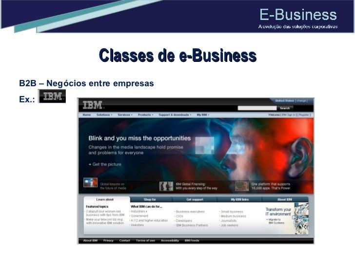 Classes de e-Business B2B – Negócios entre empresas Ex.: