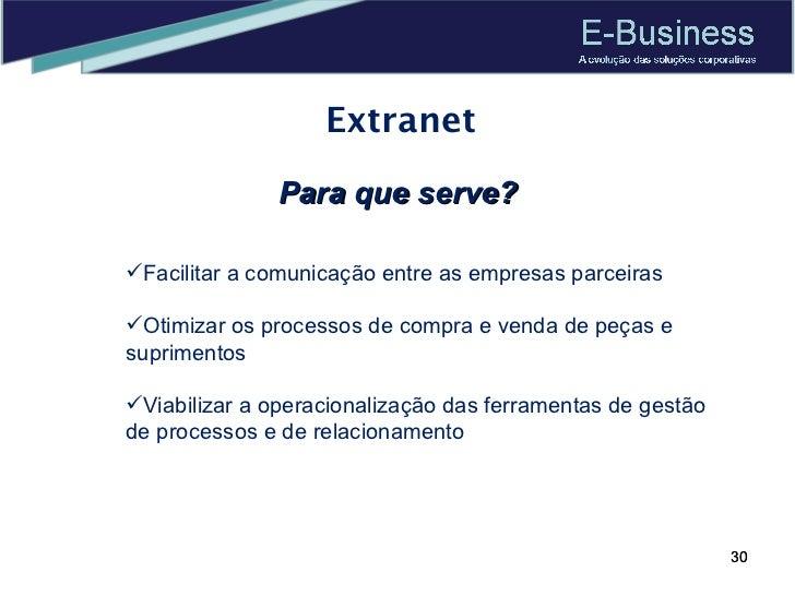 Extranet Para que serve? <ul><li>Facilitar a comunicação entre as empresas parceiras </li></ul><ul><li>Otimizar os process...