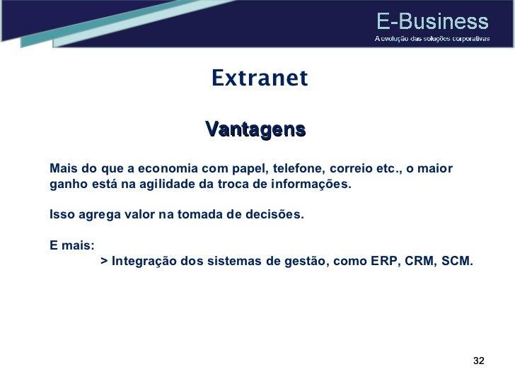 Extranet Vantagens Mais do que a economia com papel, telefone, correio etc., o maior ganho está na agilidade da troca de i...