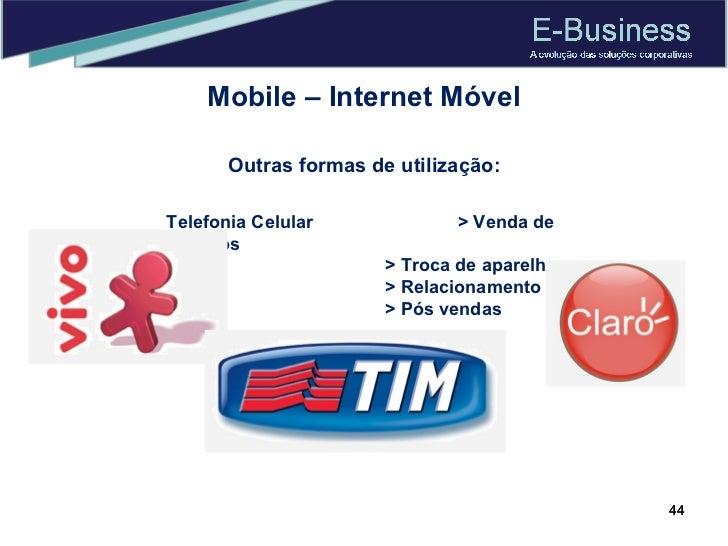 Mobile – Internet Móvel Outras formas de utilização: Telefonia Celular > Venda de serviços > Troca de aparelhos > Relacion...