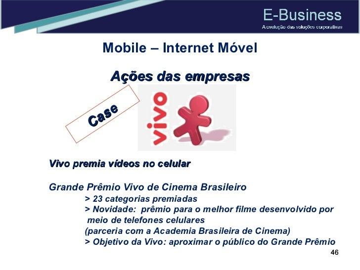Mobile – Internet Móvel Ações das empresas Vivo premia vídeos no celular Grande Prêmio Vivo de Cinema Brasileiro > 23 cate...