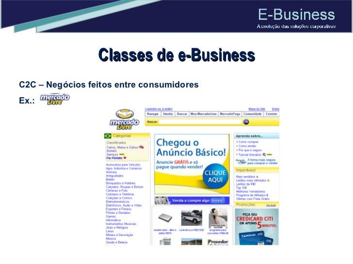 Classes de e-Business C2C – Negócios feitos entre consumidores Ex.:
