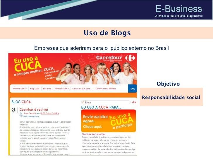 Uso de Blogs Empresas que aderiram para o  público externo no Brasil Responsabilidade social Objetivo