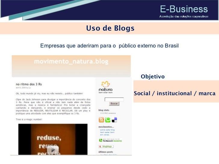 Uso de Blogs Social / institucional / marca Objetivo Empresas que aderiram para o  público externo no Brasil