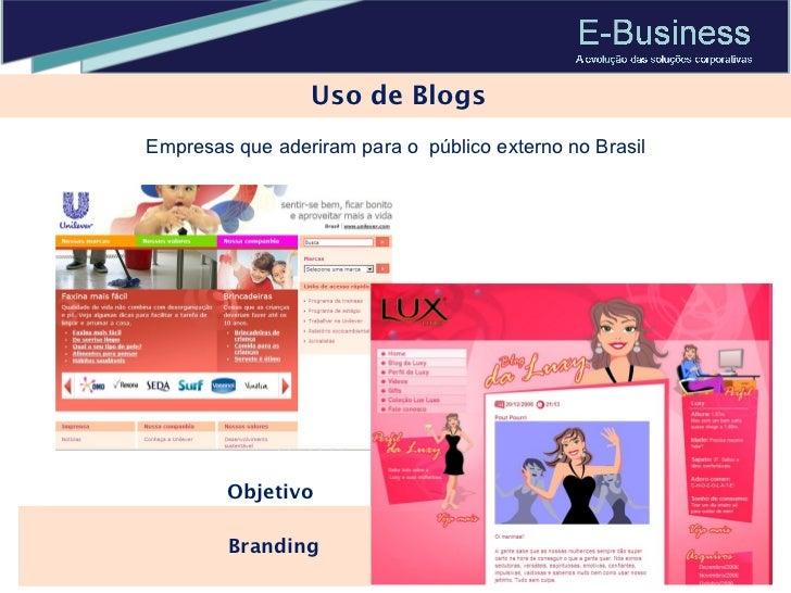 Uso de Blogs Branding  Objetivo Empresas que aderiram para o  público externo no Brasil