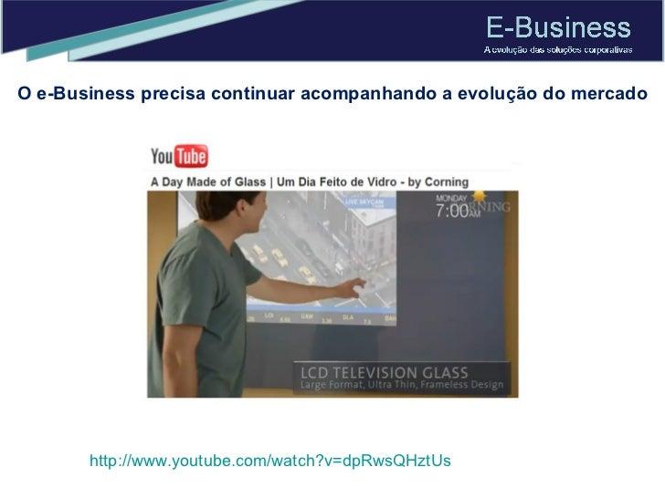 O e-Business precisa continuar acompanhando a evolução do mercado http://www.youtube.com/watch?v=dpRwsQHztUs