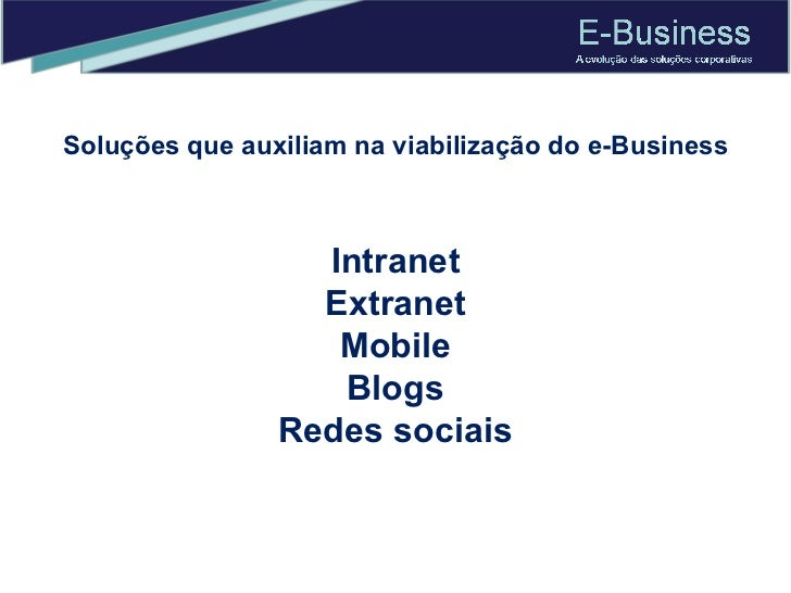 Intranet Extranet Mobile Blogs Redes sociais Soluções que auxiliam na viabilização do e-Business