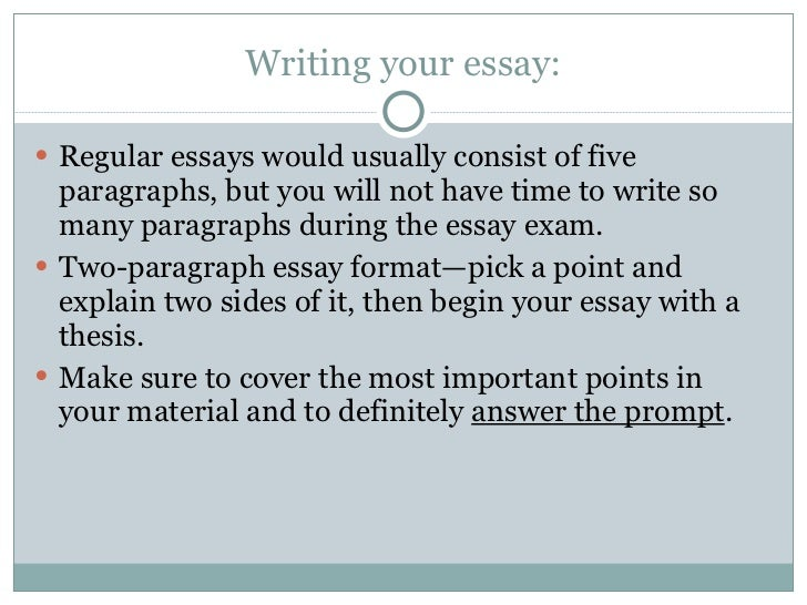 essay exam writing One of the primary differences between essay writing and essay exams is that, with an essay exam, you will be writing by hand on examination paper or in an examination booklet so much of what all of us do nowadays is typing.