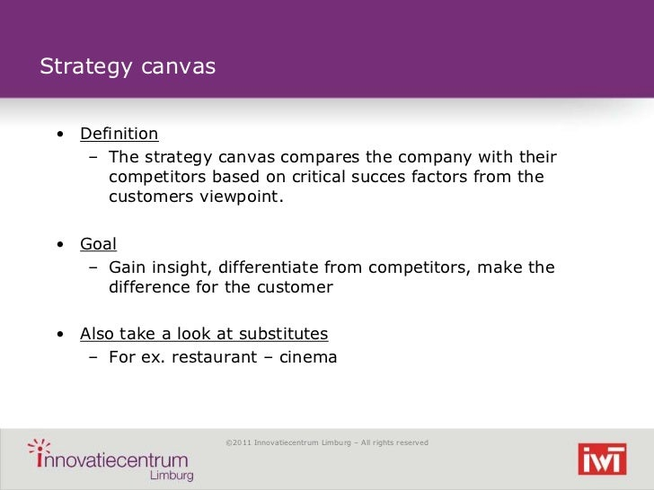 Strategy canvas • Definition    – The strategy canvas compares the company with their      competitors based on critical s...