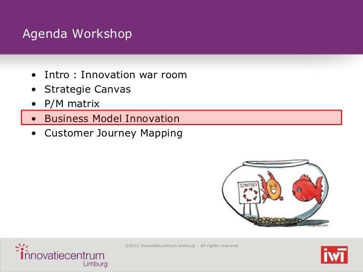 Agenda Workshop •   Intro : Innovation war room •   Strategie Canvas •   P/M matrix •   Business Model Innovation •   Cust...