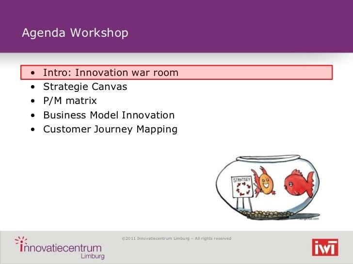 Agenda Workshop •   Intro: Innovation war room •   Strategie Canvas •   P/M matrix •   Business Model Innovation •   Custo...