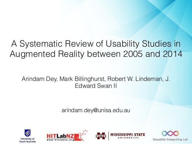 A Systematic Review of Usability Studies in Augmented Reality between 2005 and 2014 Arindam Dey, Mark Billinghurst, Robert...