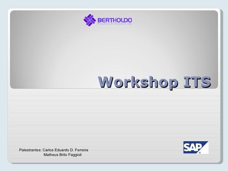 Workshop ITSPalestrantes: Carlos Eduardo D. Ferreira              Matheus Brito Faggioli