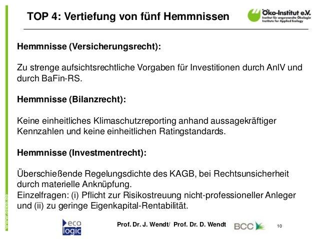Prof. Dr. J. Wendt/ Prof. Dr. D. Wendt 10 TOP 4: Vertiefung von fünf Hemmnissen Hemmnisse (Versicherungsrecht): Zu strenge...
