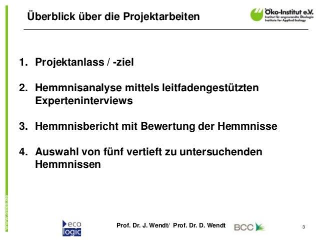 Prof. Dr. J. Wendt/ Prof. Dr. D. Wendt 3 Überblick über die Projektarbeiten 1. Projektanlass / -ziel 2. Hemmnisanalyse mit...