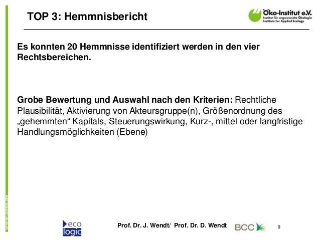 Prof. Dr. J. Wendt/ Prof. Dr. D. Wendt 9 TOP 3: Hemmnisbericht Es konnten 20 Hemmnisse identifiziert werden in den vier Re...