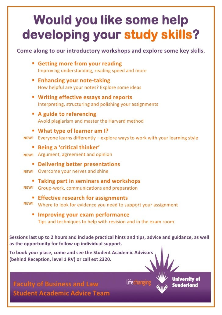Would you like some help      developing your study skills?   Come along to our introductory workshops and explore some ke...