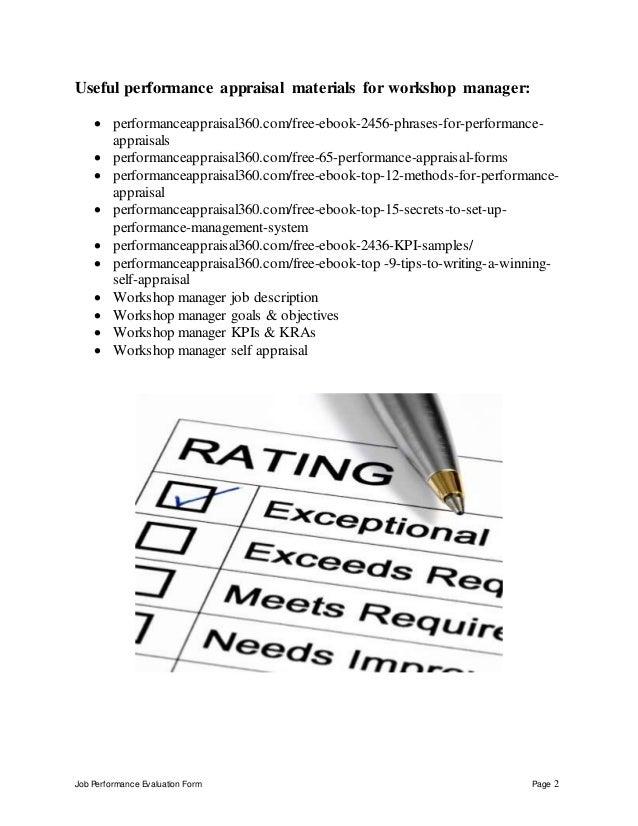 Workshop manager performance appraisal – Sample Workshop Evaluation Form Example