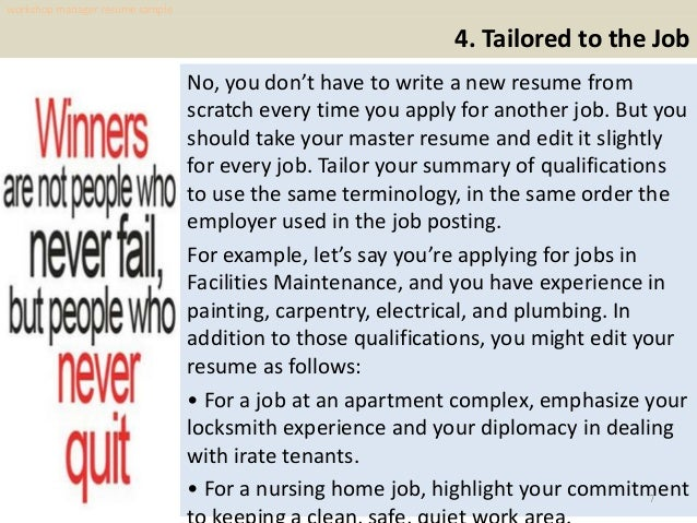 Workshop manager resume sample pdf ebook free download