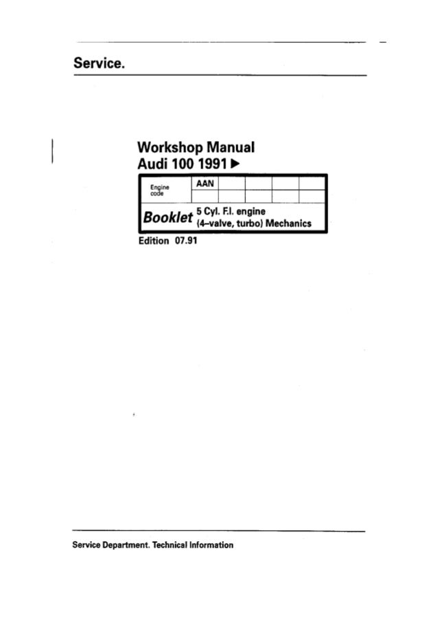 Workshop manual audi 100 aan