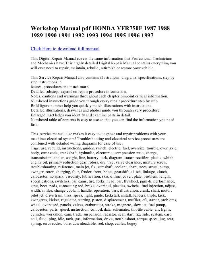 workshop manual pdf honda vfr750 f 1987 1988 1989 1990. Black Bedroom Furniture Sets. Home Design Ideas