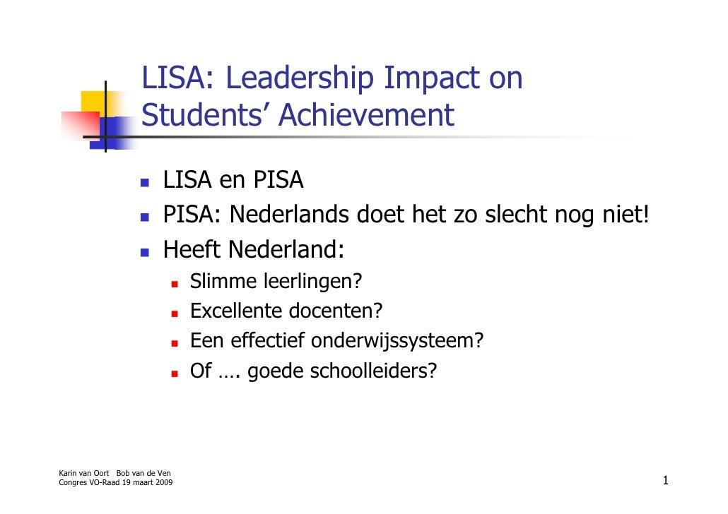 LISA: Leadership Impact on                      Students' Achievement                           LISA en PISA              ...