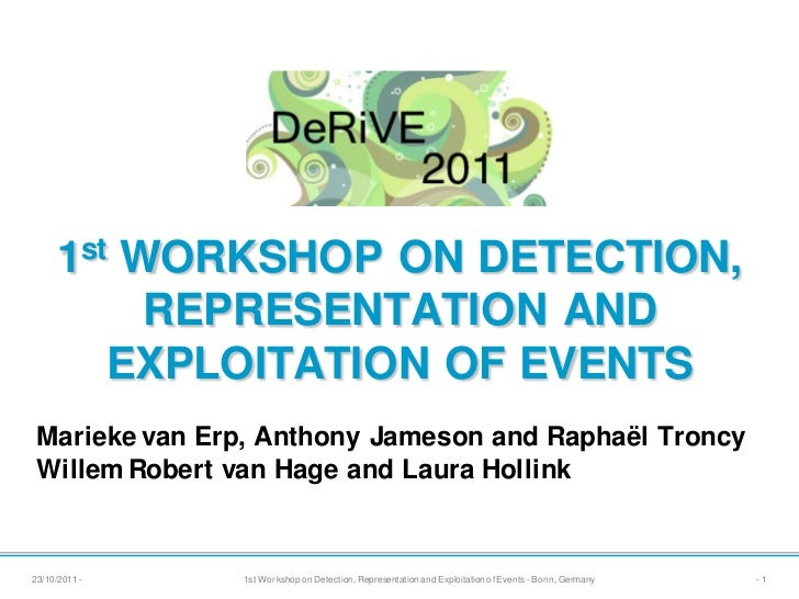 1st WORKSHOP ON DETECTION,          REPRESENTATION AND        EXPLOITATION OF EVENTSMarieke van Erp, Anthony Jameson and R...