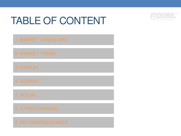 TABLE OF CONTENT 1. MARKET LANDSCAPE 2. MARKET TREND 3. DISPLAY 4. SEARCH 5. SOCIAL 6. OTHER CHANNEL 7. KEY MEARSUREMENT