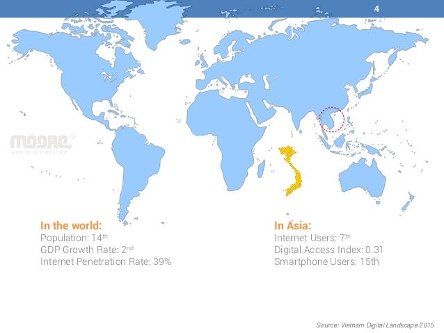 In Asia: Internet Users: 7th Digital Access Index: 0.31 Smartphone Users: 15th In the world: Population: 14th GDP Growth R...