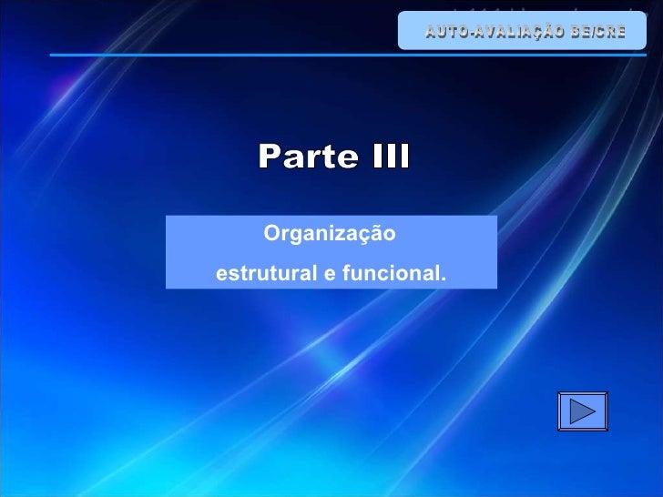AUTO-AVALIAÇÃO BE/CRE Organização  estrutural e funcional. Parte III