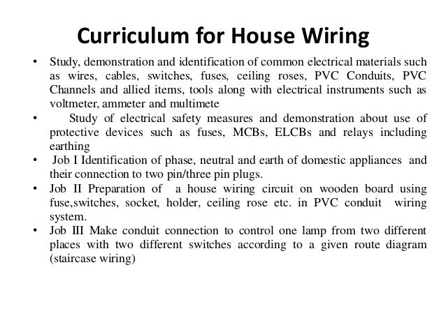 workshop practise, house wiring