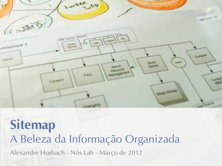 SitemapA Beleza da Informação OrganizadaAlexandre Horbach - Nós Lab - Março de 2012
