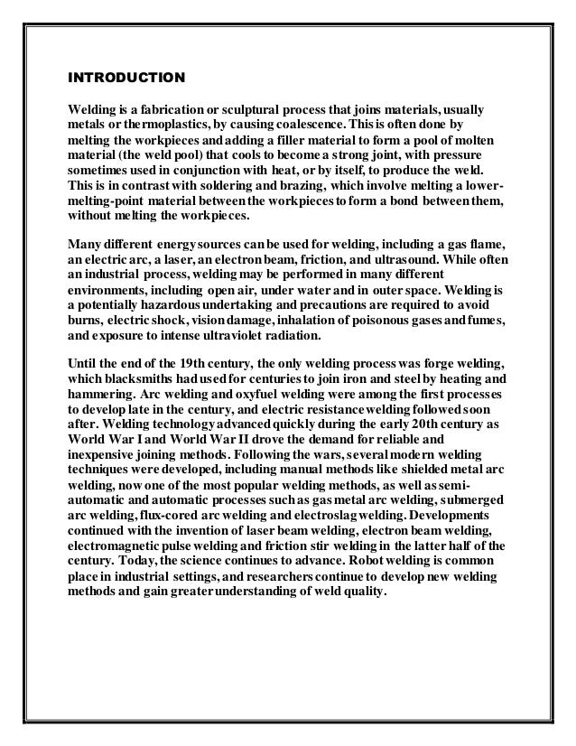 Introduction to Welding introduction welding report