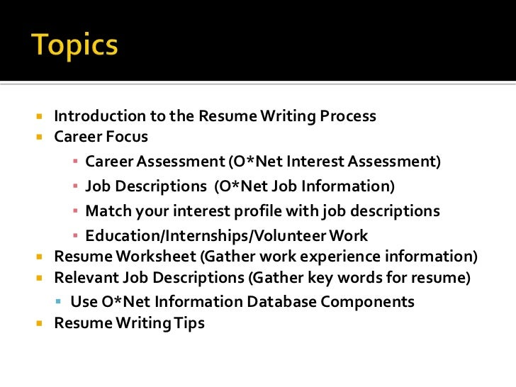 workshop resume writing tips