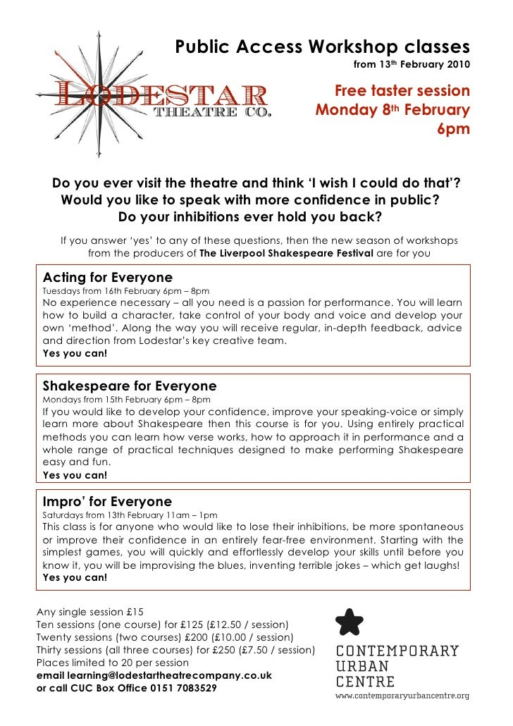 Public Access Workshop classes                                                                   from 13th February 2010  ...