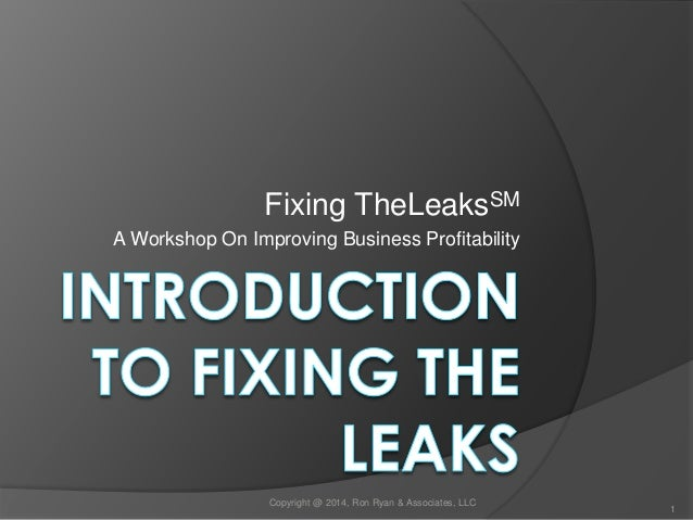 Fixing TheLeaksSM  A Workshop On Improving Business Profitability  Copyright @ 2014, Ron Ryan & Associates, LLC  1